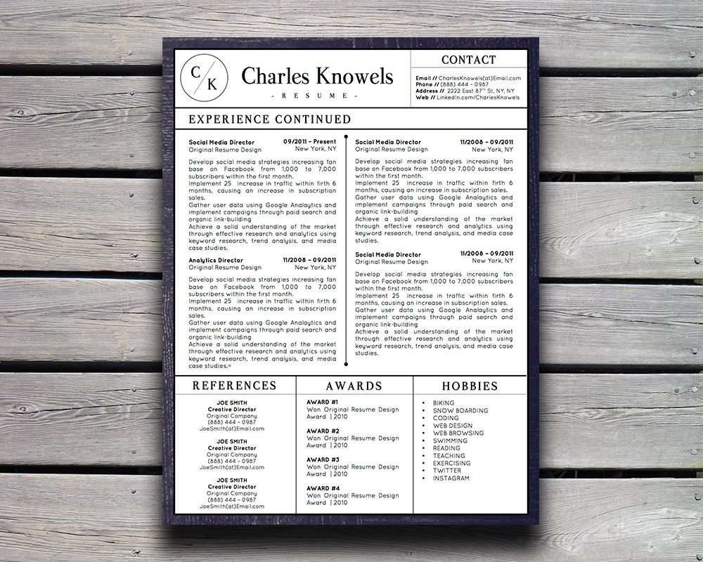 Modern Resume Template for MS Word Cv template, Resume