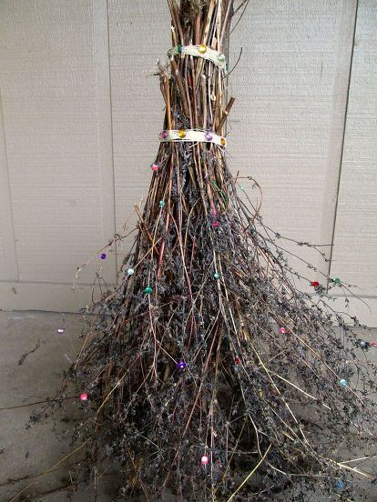 Halloween Decoration Sparkly Witch Broom Witches Halloween