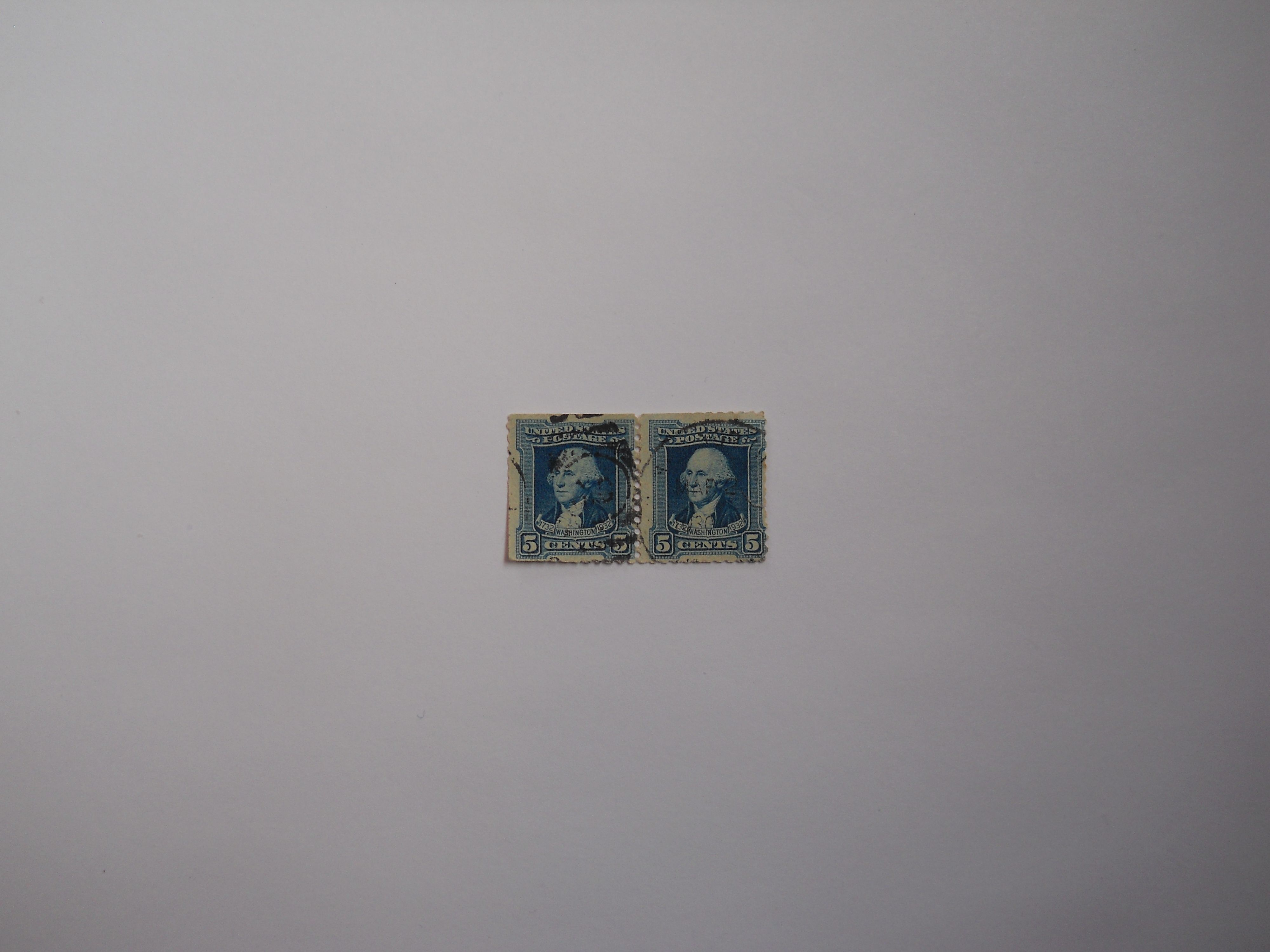 1732-1932 Blue Washington 5 Cents Postal Stamp