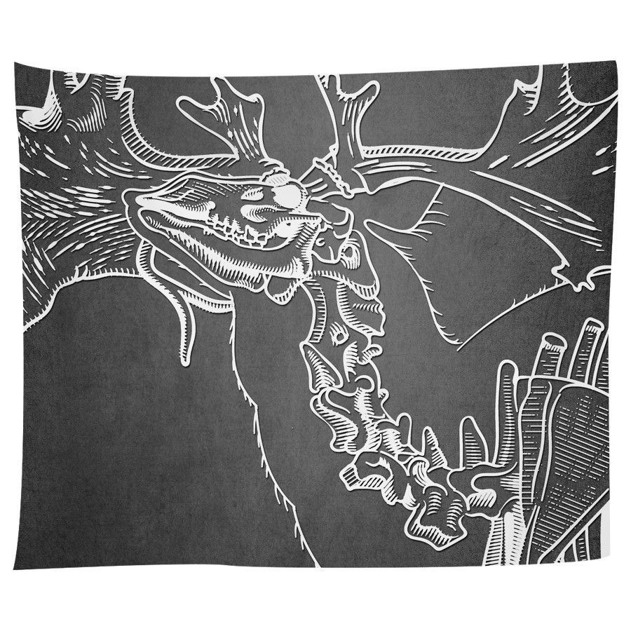 Elk Skeleton on Black Tapestry