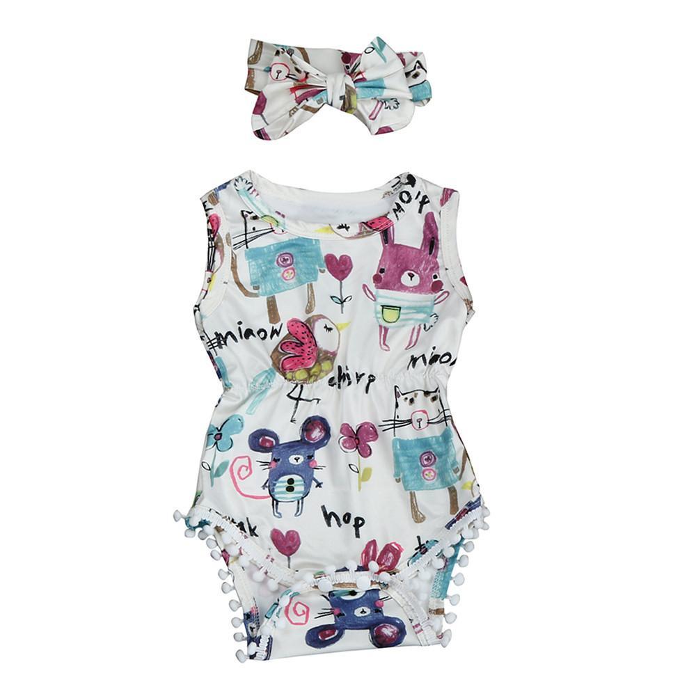 4140d9f20b92 2PCS Newborn Baby Girl Romper Clothes 2017 Summer Sleeveless Animal Print  Tassel Ball Jumpsuit Headband Outfit (Sunsuit)