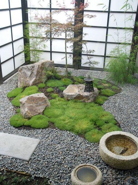 Garden Design, Small Indoor Japanese Zen Garden With Grass And Gravel: 16  Amazing Indoor