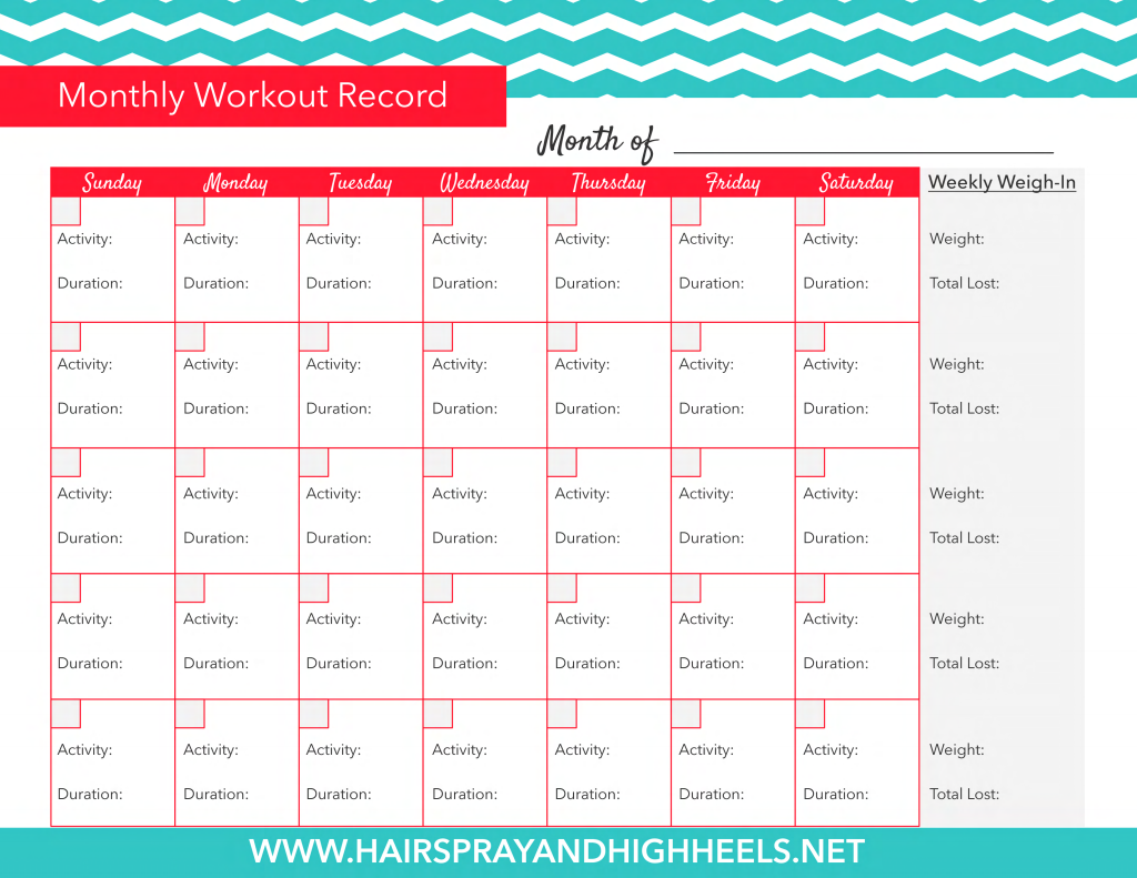 Hairspray Monthly Workout Record Pdf Google Drive Fitness Tracker Printable Month Workout Fitness Planner Printable