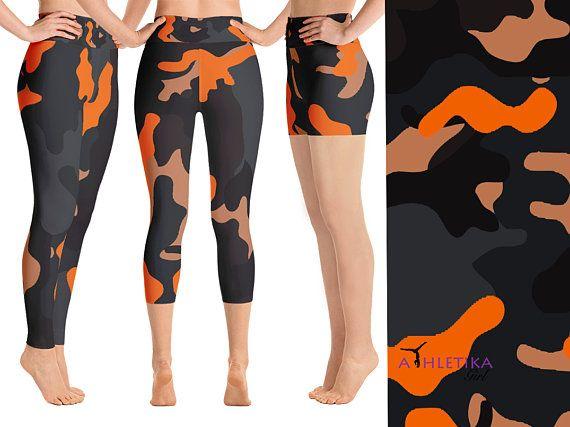 6d8d257fde4d73 Orange Camouflage Military Yoga Leggings Workout Women Gym Pants Camo  Shorts Capri High Waisted Hot