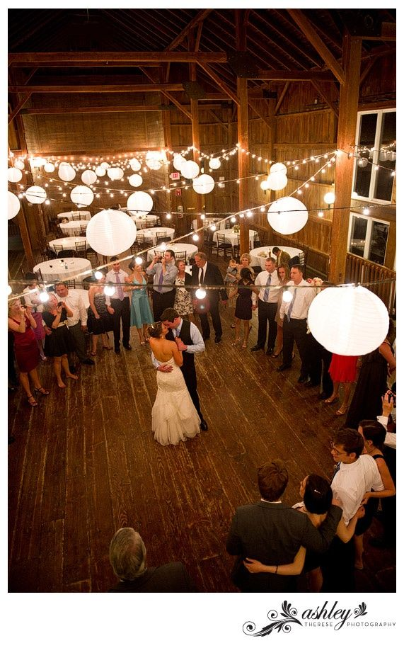twinkle light and paper lanters barn wedding
