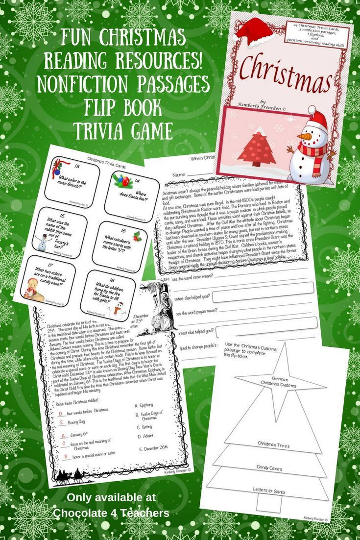 Christmas trivia cards nonfiction passages printables flip book 19 pages of christmas fun non fiction passages flip book and trivia game gift yourself solutioingenieria Image collections