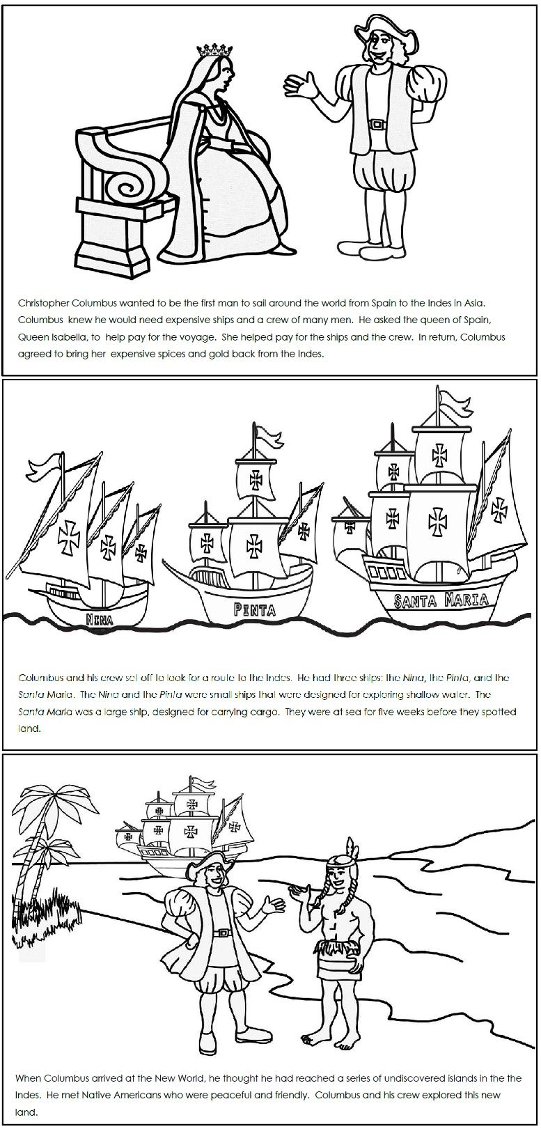 A Columbus Day Read and Color Book   Christopher columbus activities [ 1621 x 777 Pixel ]