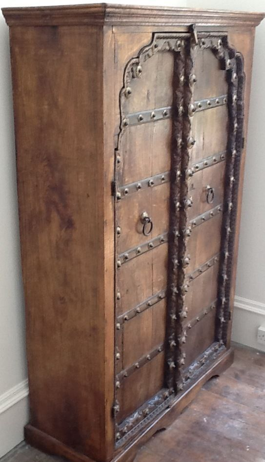 Hand-crafted Indian cupboard, hardwood frame with superb 200 year-old doors. - Antique Cupboard Doors Antique Furniture