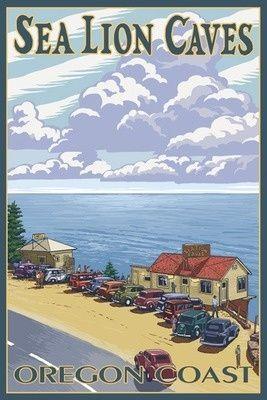 Sea Lion Caves - Oregon Coast Lantern Press Poster