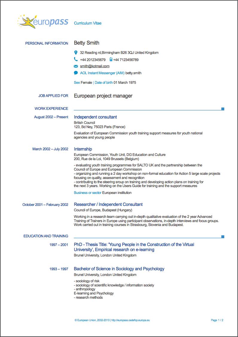 Europass Curriculum Vitae Writing Tips 2020 Resumeviking Com Curriculum Vitae Writing Tips Cv Template Download