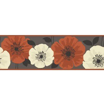 Fine Decor Poppie Wallpaper Border Brown Orange Boho Art