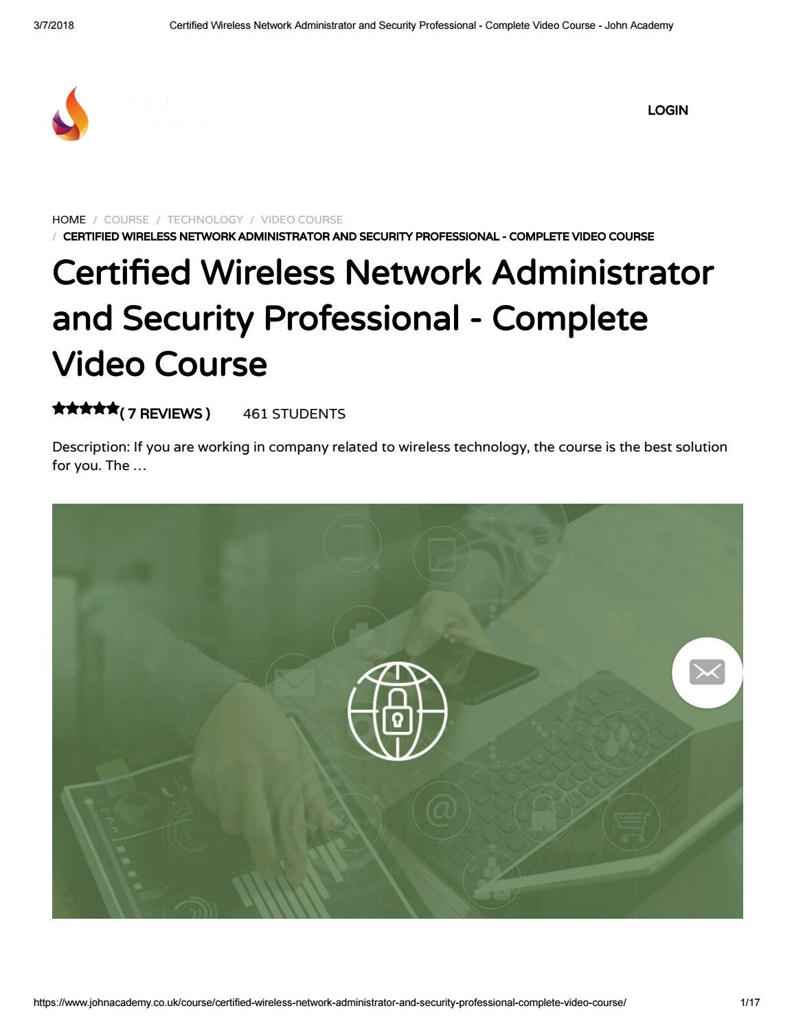 Certified Wireless Network Administrator And Security Professional