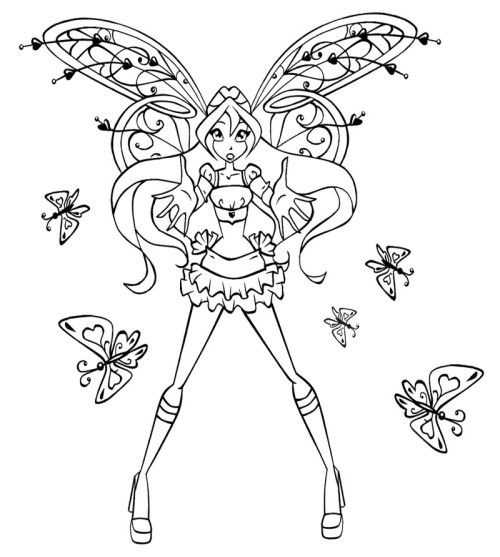 Strength Bloom Winx Club Coloring Pages Boyama Sayfalari