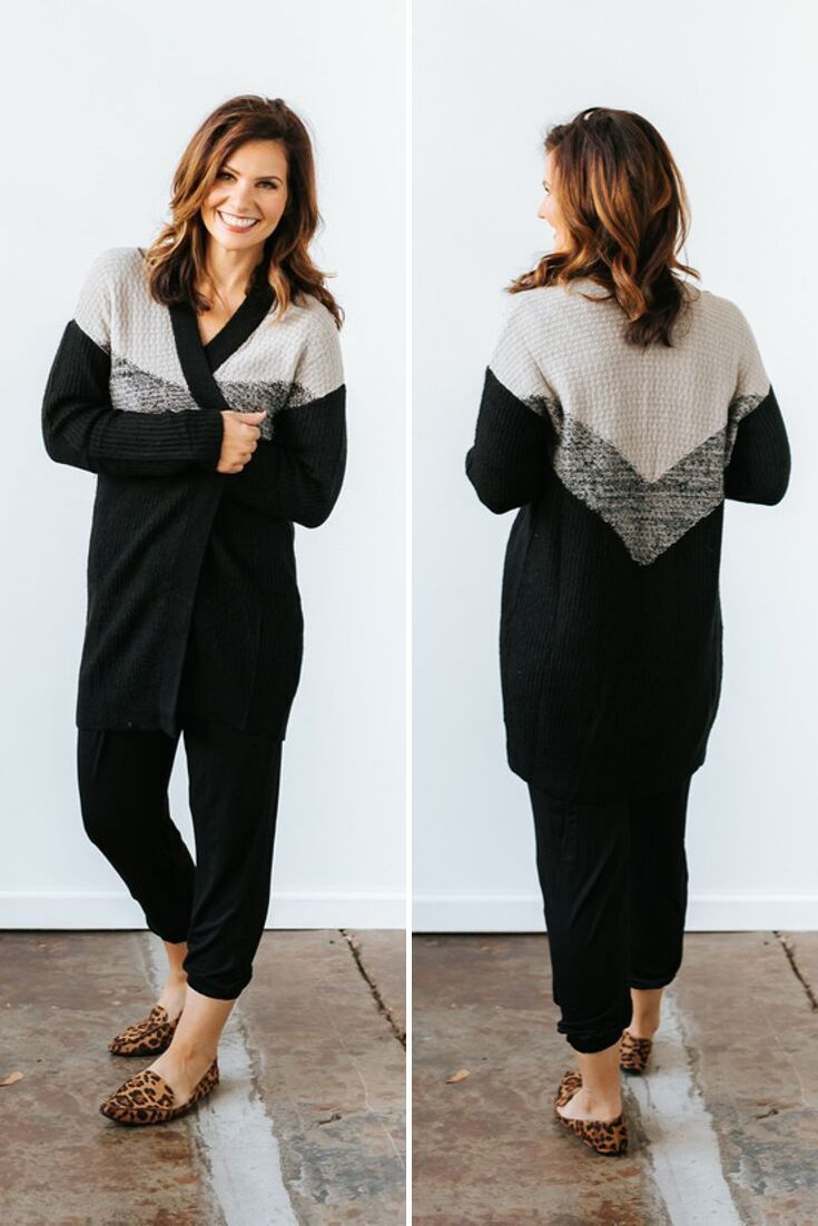 Black Two Tone Chevron Open Cardigan #pumpkinpatchoutfitwomen