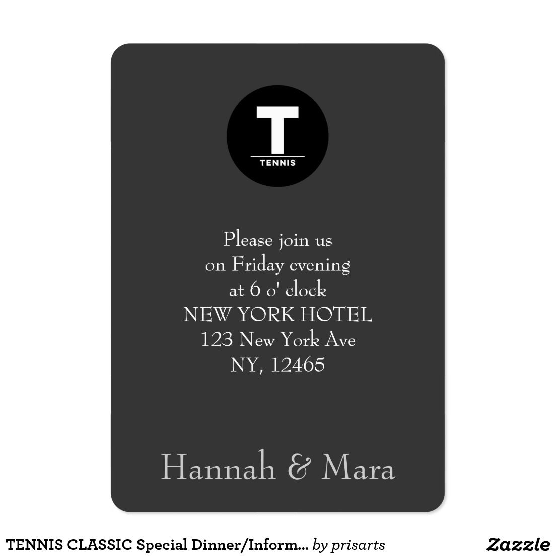 TENNIS CLASSIC Special Dinner/Information Business Card   Best ...