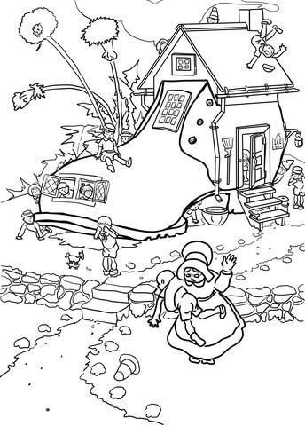 Little Old Woman Who Lived In A Shoe Coloring Page From Mother Goose Nursery Rhyme Precious Moments Coloring Pages Coloring Pages Free Printable Coloring Pages