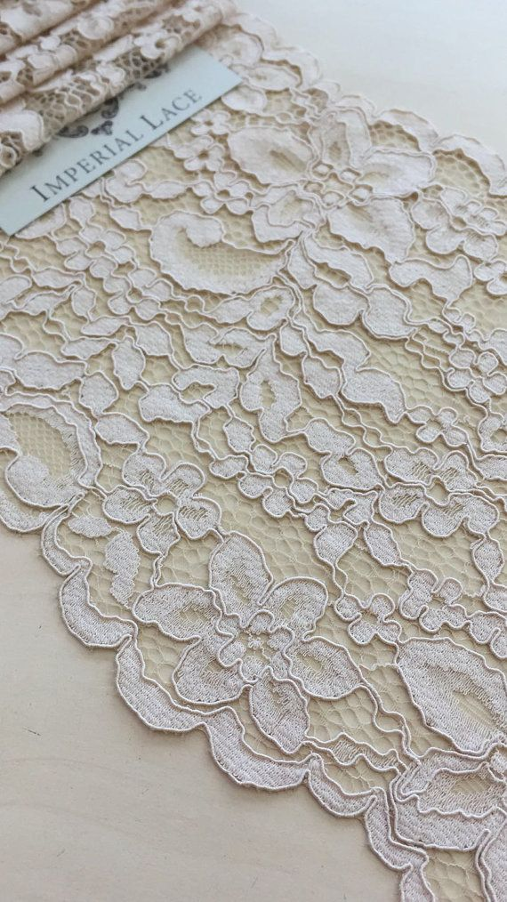 light brown powder lace trim, nude Alencon Lace Trimming, Spanish style      MK00193