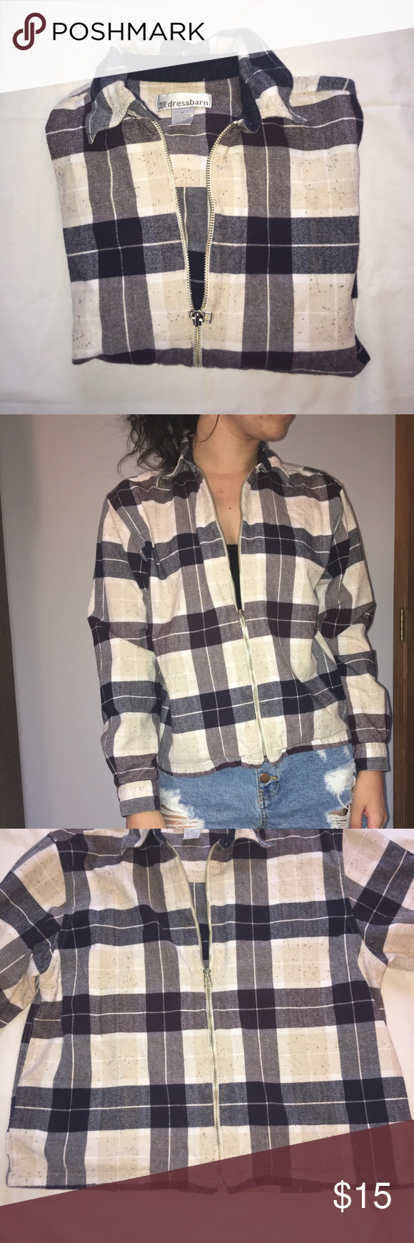Retro flannel shirts  Retro Flannel zipup jacket  Summer evening Flannels and Dark blue