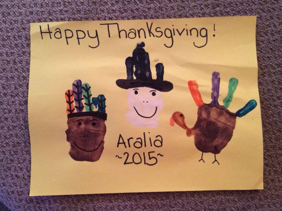 Thanksgiving Placemat Handprint Indian Pilgrim And
