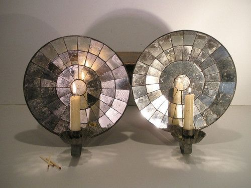 AAFA Pair Tin Mirrored Back Wall Sconces Single Light Reflector Candle Sconce EBay Candle