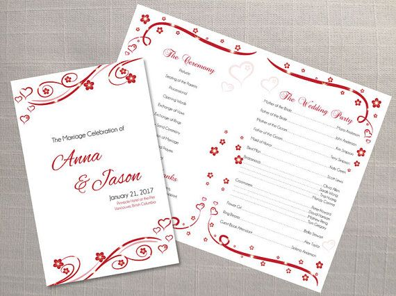 DIY Printable Wedding Program Template Editable MS Word file 85