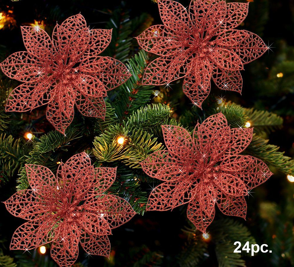 Poinsettia Ornaments Pack of 24 Glitter Poinsettia Flowers