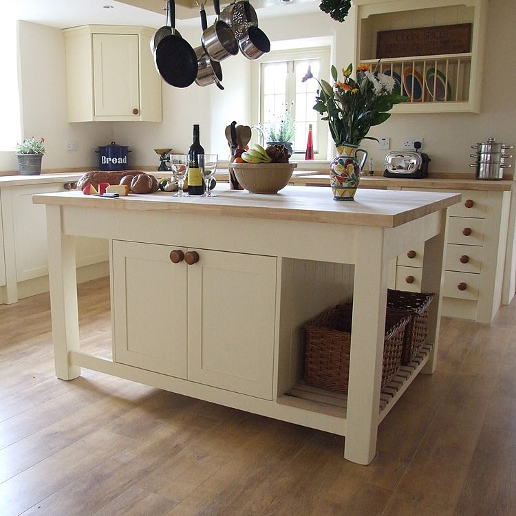 Freestanding painted shaker kitchen island devon house for Shaker style kitchen with island