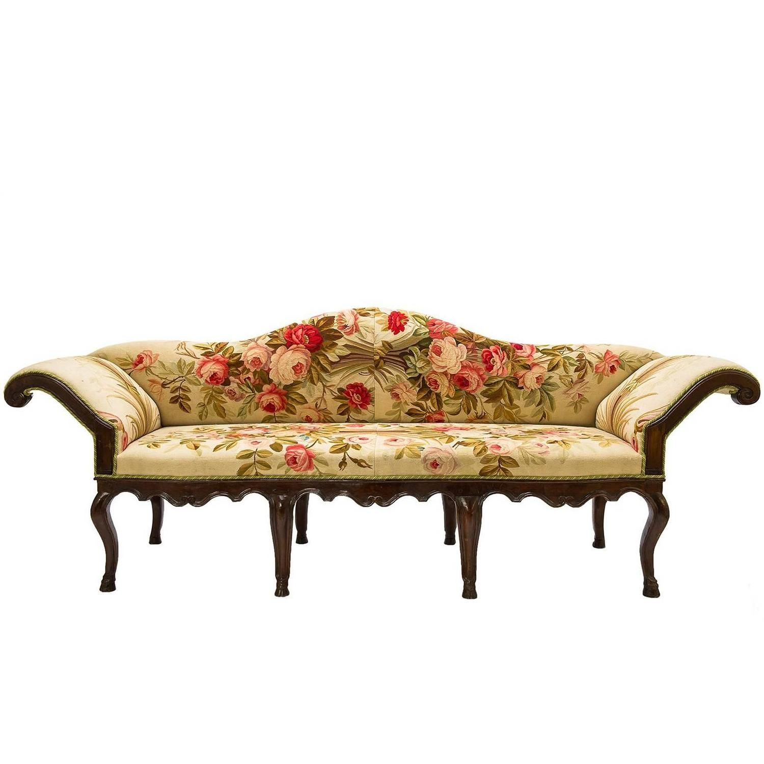 Antique Sofa Louis Xv Covered With Authentic Old Aubusson Tapestry Antique Sofa Leather Chair With Ottoman Vintage Sofa