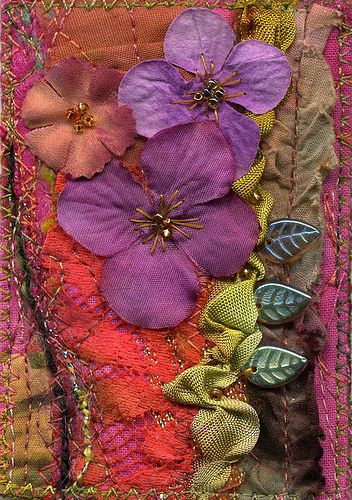 """Really Hot Garden"" tiny art quilt made in 2007 by me, Molly Jean Henson. It was pinned some time ago on pinterest."