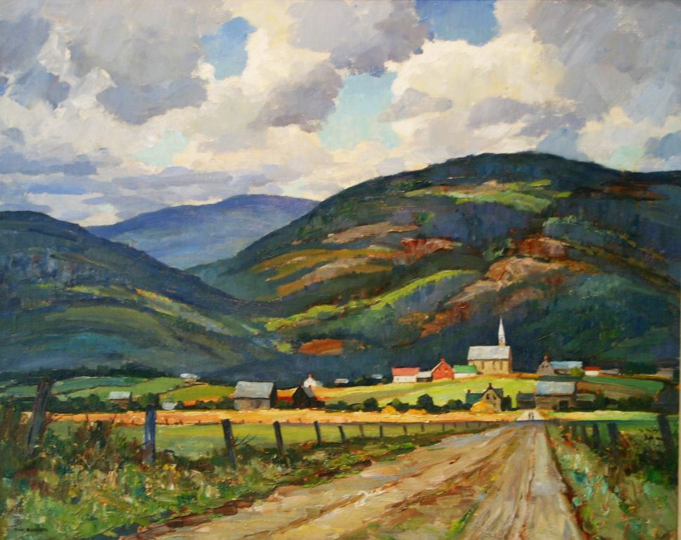 Quebec Landscape Tom Roberts 1950 Art Dwellings And