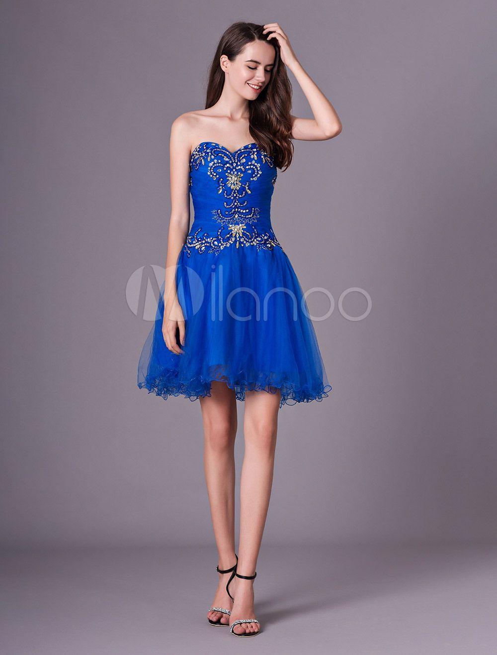 Short Prom Dresses Royal Blue Strapless Tulle Beaded Graduation
