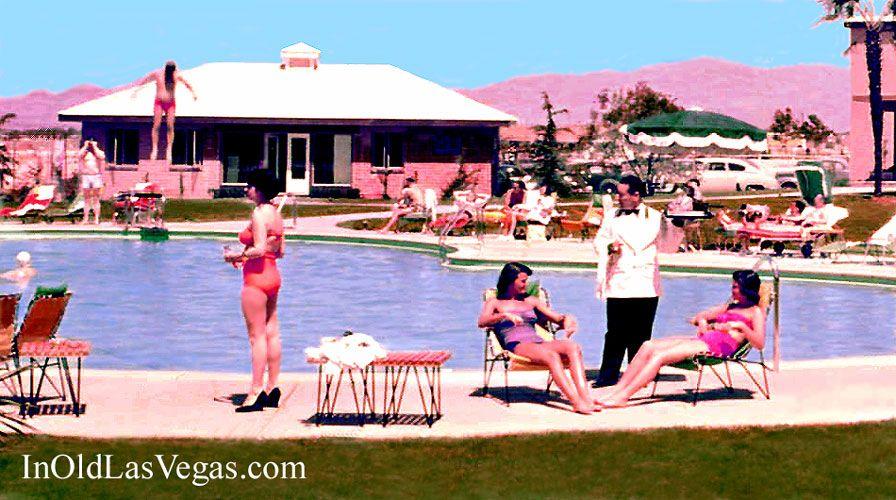 Ladies Enjoying The Swimming Pool At The 1950 Desert Inn Hotel In Las Vegas Nevada Roll Em