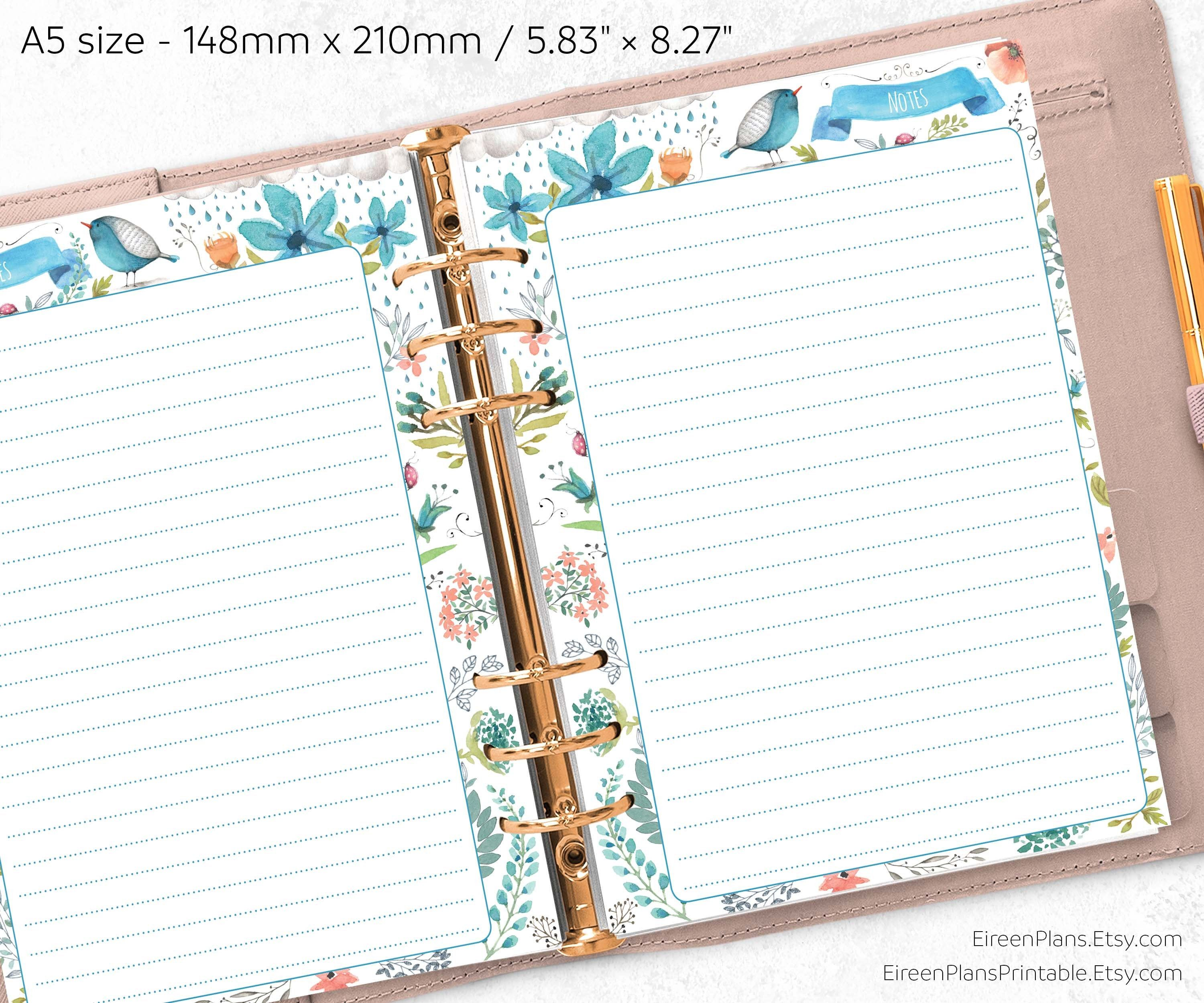 A5 rings Filofax inserts Address Book printable Personal Business contacts page
