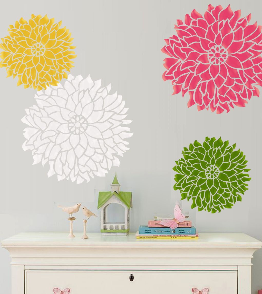 Wall Stencil Bold Statement Flower Dalia Small Size Pattern Wall Room Decor  Made By OMG Stencils Home Improvements Color Paintings 0054