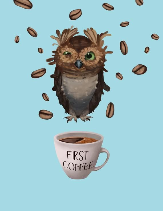 Photo of Coffee lover, morning, owl, coffee illustration, coffee shop poster coffee addict