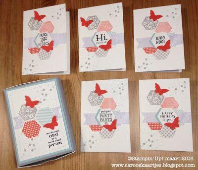 Stampin' Up! Six Sided Sampler, envelope punch board, bitty butterfly punch, vlinderpons, doosje met kaartjes, doosje gemaakt met envelope punch board, notecards box, Caro's Kaartjes, carooskaartjes