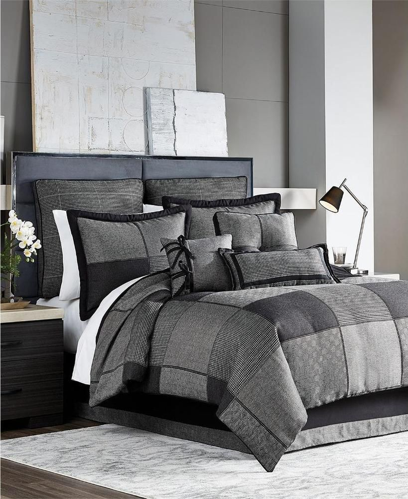 Croscill Oden Charcoal Grey Queen Comforter 2 Sham Bedskirt