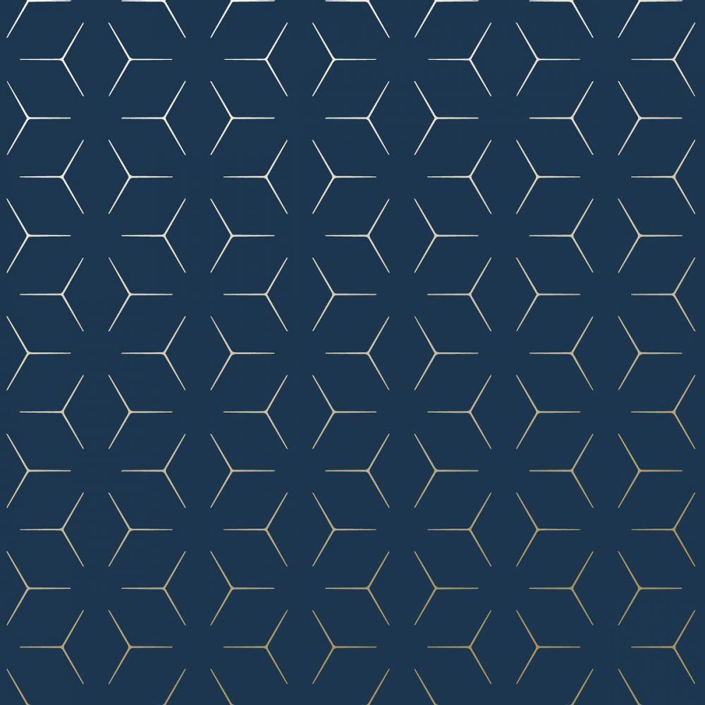 Metro Illusion Geometric Wallpaper Navy Blue and Gold