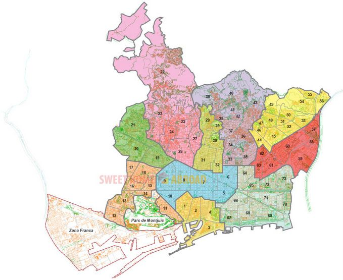 The Map Of Districts Of Barcelona Coloured And Numbered - Barcelona map eixample district