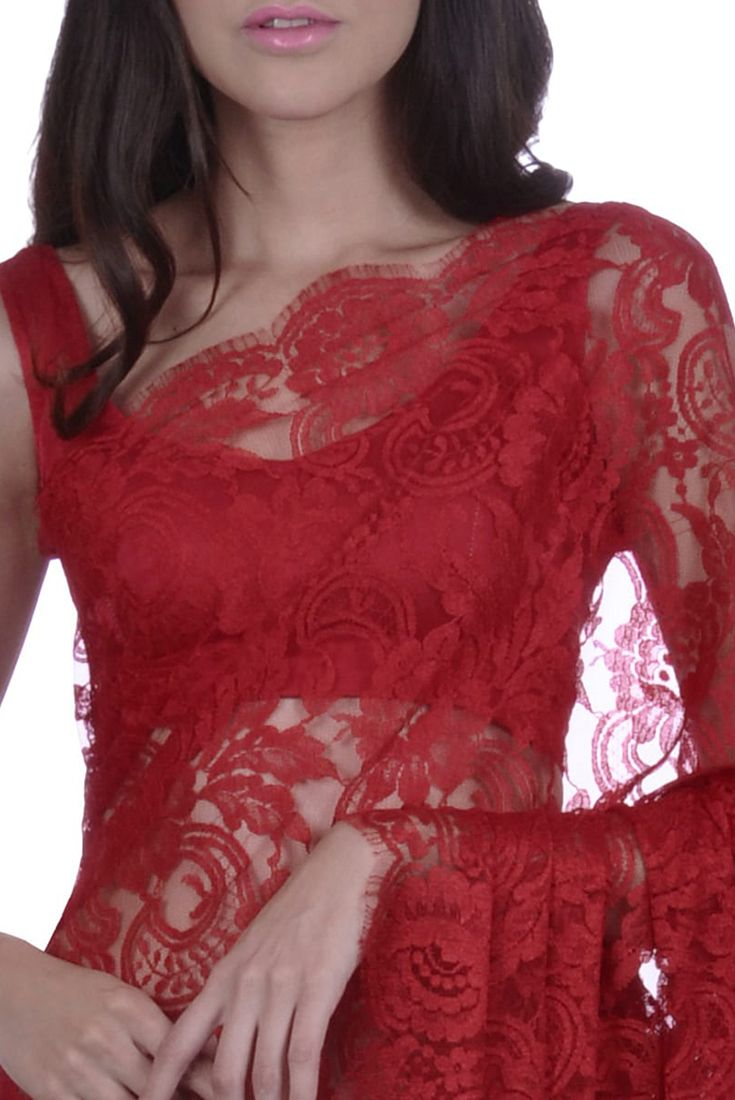 Red French Chantilly Lace Saree With Satin Crepe Blouse ...