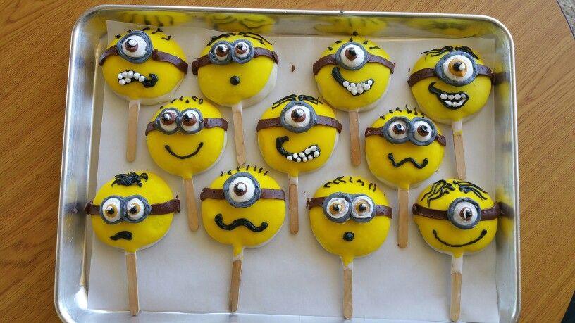 Minion cookie pops minion cookies cookie pops desserts
