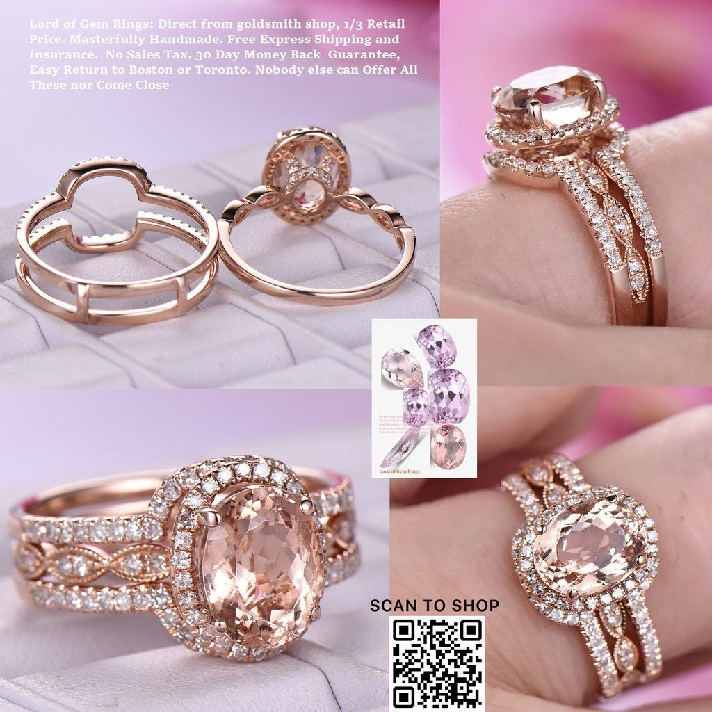Oval Morganite Engagement Ring Forever Together Sets Diamond Ring ...