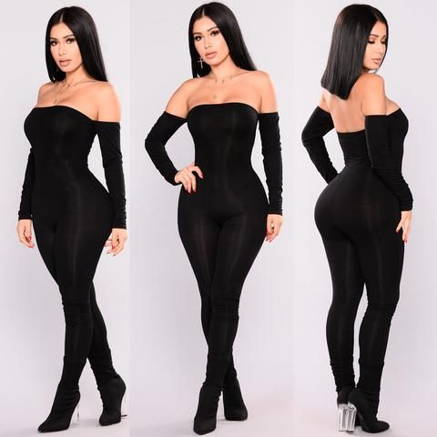 5dcff3f54e2 Thefound Autumn Women Off Shoulder Clubwear Jumpsuit Bodycon Romper Skinny  Sexy Black Club Party Long Sleeve Jumpsuits For Girls