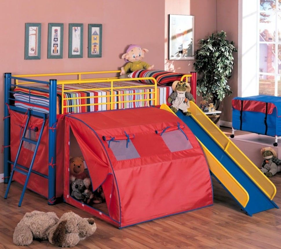 Kids BedroomSeductive Bunk Beds With Slide Tent Idea Also Thick Mattress And There Are Many Dolls There Also Plant In A Pots Also Laminate Floor Its ... & Kids Bedroom:Seductive Bunk Beds With Slide Tent Idea Also Thick ...