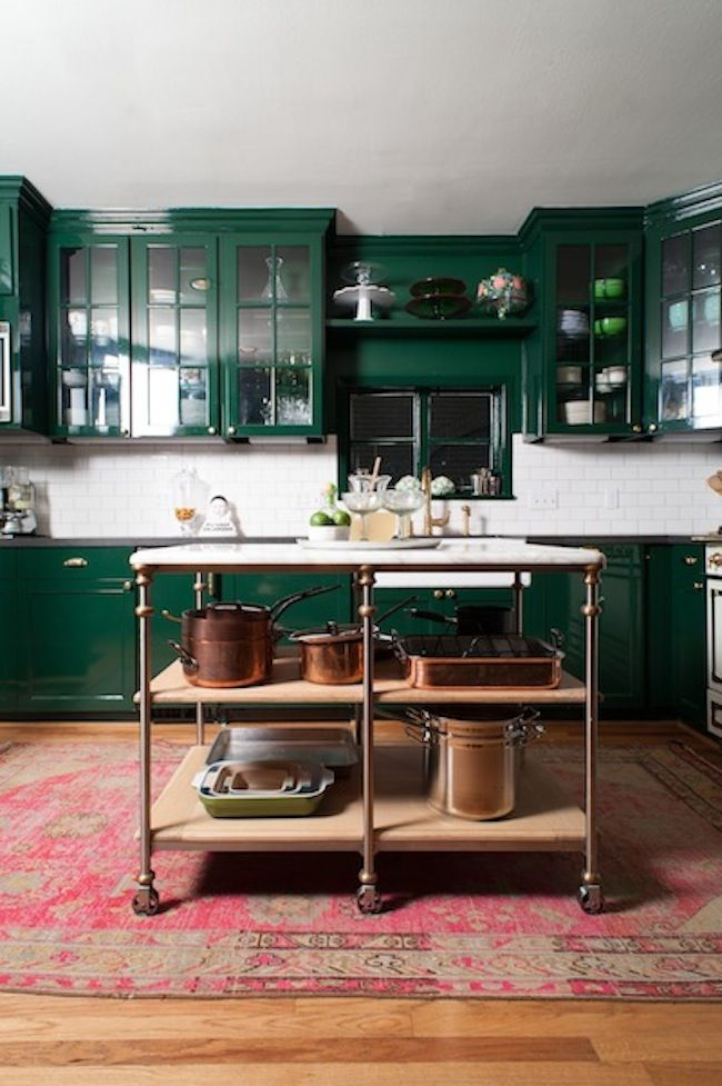 Emerald Green Kitchen, Pink Vintage Rug, Copper Pots. Perfection!