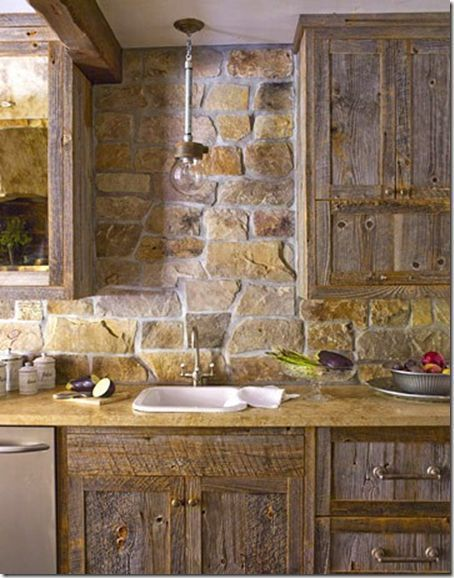 15 Amazing Ideas Adding River Rocks To Your Home Design - Rustic kitchen cabinets, Stone backsplash kitchen, Rustic kitchen, Stone kitchen, Kitchen cabinets decor, Rustic cabinets - We can see some of the homes which have amazing ideas  Those ideas are using adding river furniture