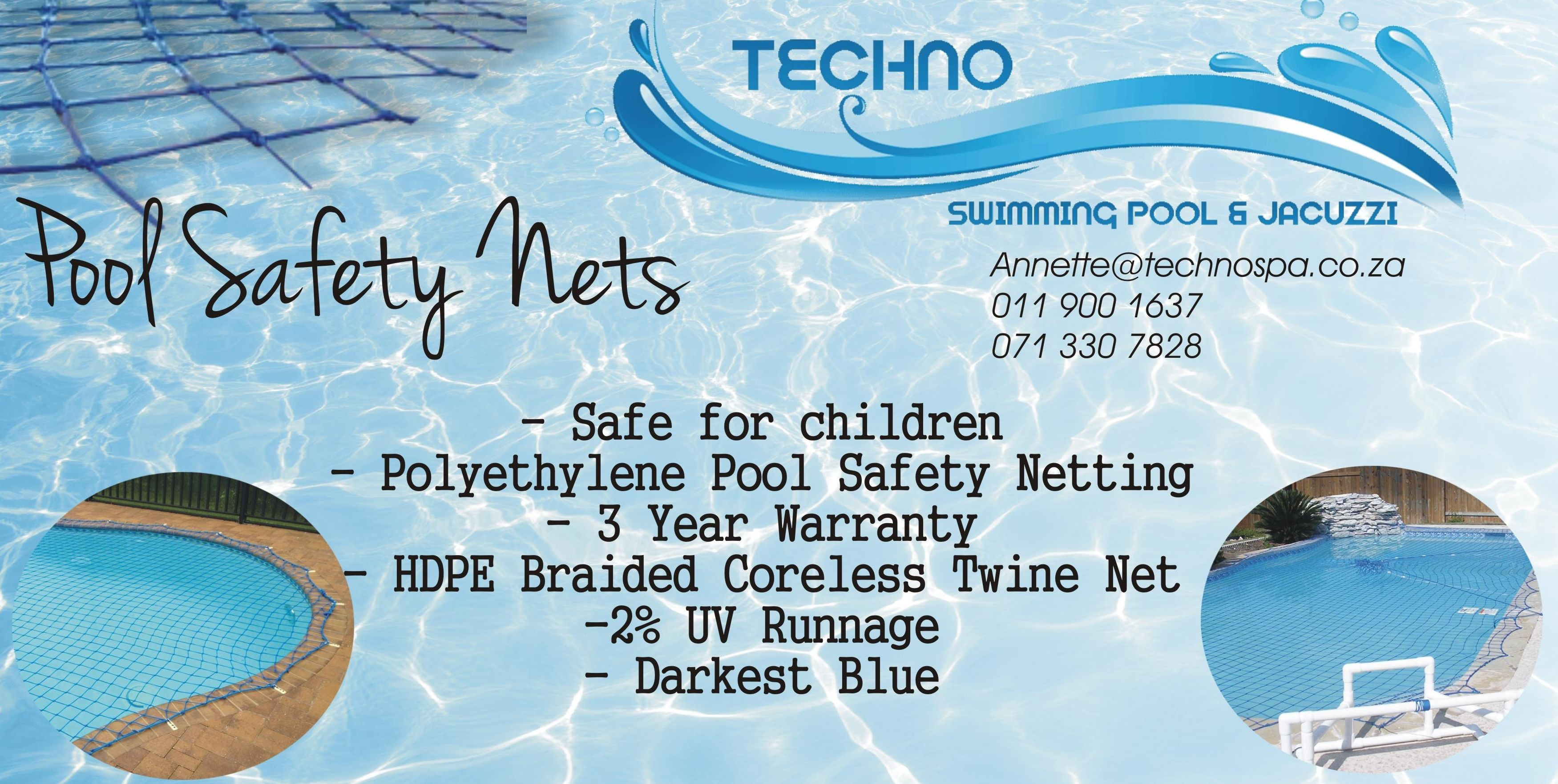 pool nets by Techno, now available. Pool safety