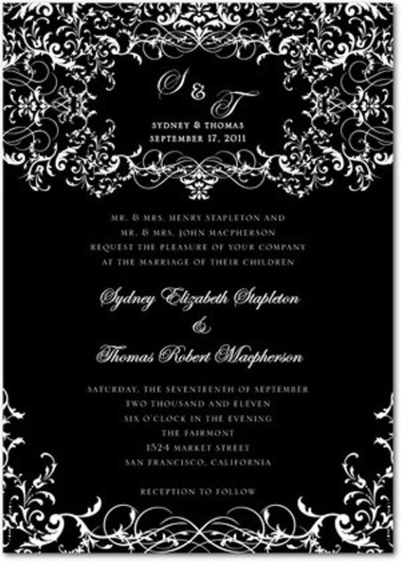 Gothic Wedding Invitation Design with Stylish Dark Wedding Ideas - invitation designs