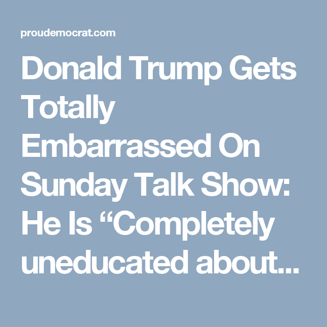 """Donald Trump Gets Totally Embarrassed On Sunday Talk Show: He Is """"Completely uneducated about any part of the world"""" (VIDEO)"""