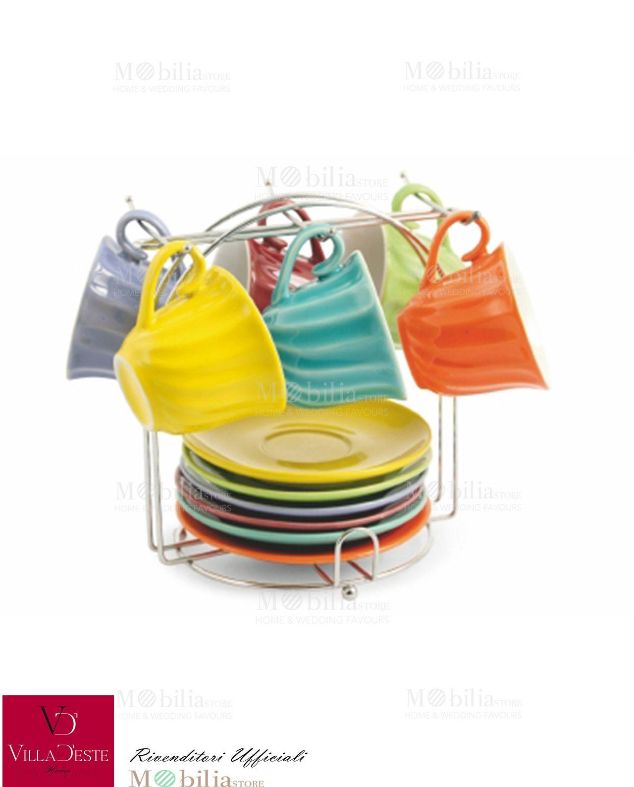 Set di 6 Tazzine Caffè Twister Villa d\'Este assortite in vari colori ...